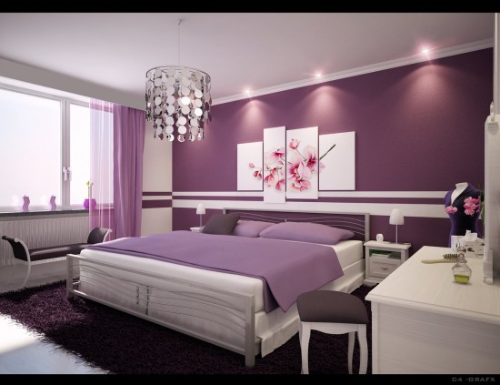 Cute and lovely room paint colors gallery for modern hose for Purple bedroom designs modern
