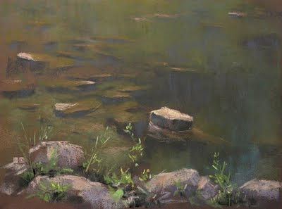 pastel painting, plein air Canada, painting of shallow creek with exposed rocks, pixar fine art