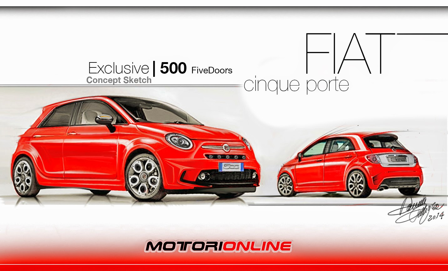 fiat 500 5 porte bozzetto esclusivo di un cinquino per famiglie. Black Bedroom Furniture Sets. Home Design Ideas