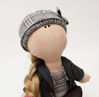 Florence - handmade fabric doll with tartan school uniform