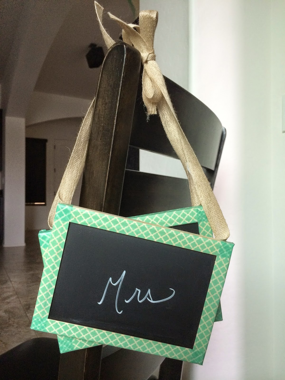 washi tape chalkboard chair sign