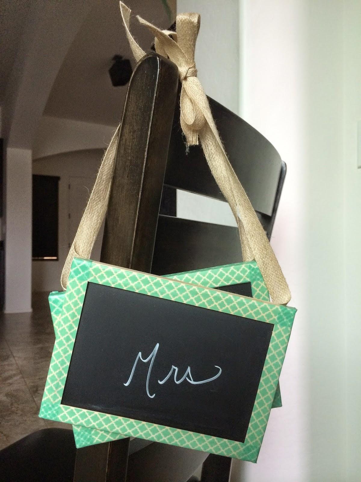 washi tape chalkboard chair sign