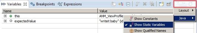 How to displaye static variable in java debug mode?
