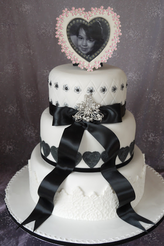 Monotone 3 Tier 40th Birthday Cake