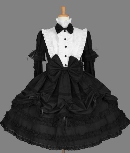 Black and White Removable Sleeves Gothic Lolita Dress