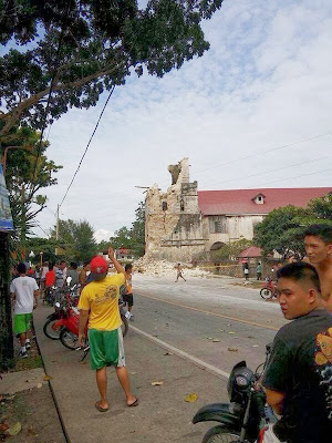 photo of baclayon church after eathquake - side view