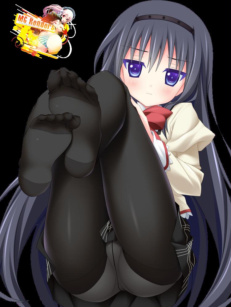 Tags: Anime, Render,  Akemi Homura,  Feet,  Mahou Shoujo Madoka☆Magica,  PNG, Image, Picture