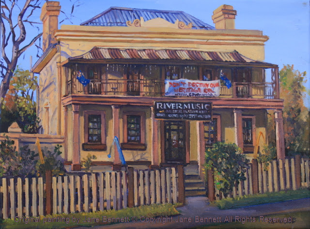 plein air oil painting of colonial heritage architecture, 'River Music' in Thompson's Square, Windsor,  painted by artist Jane Bennett