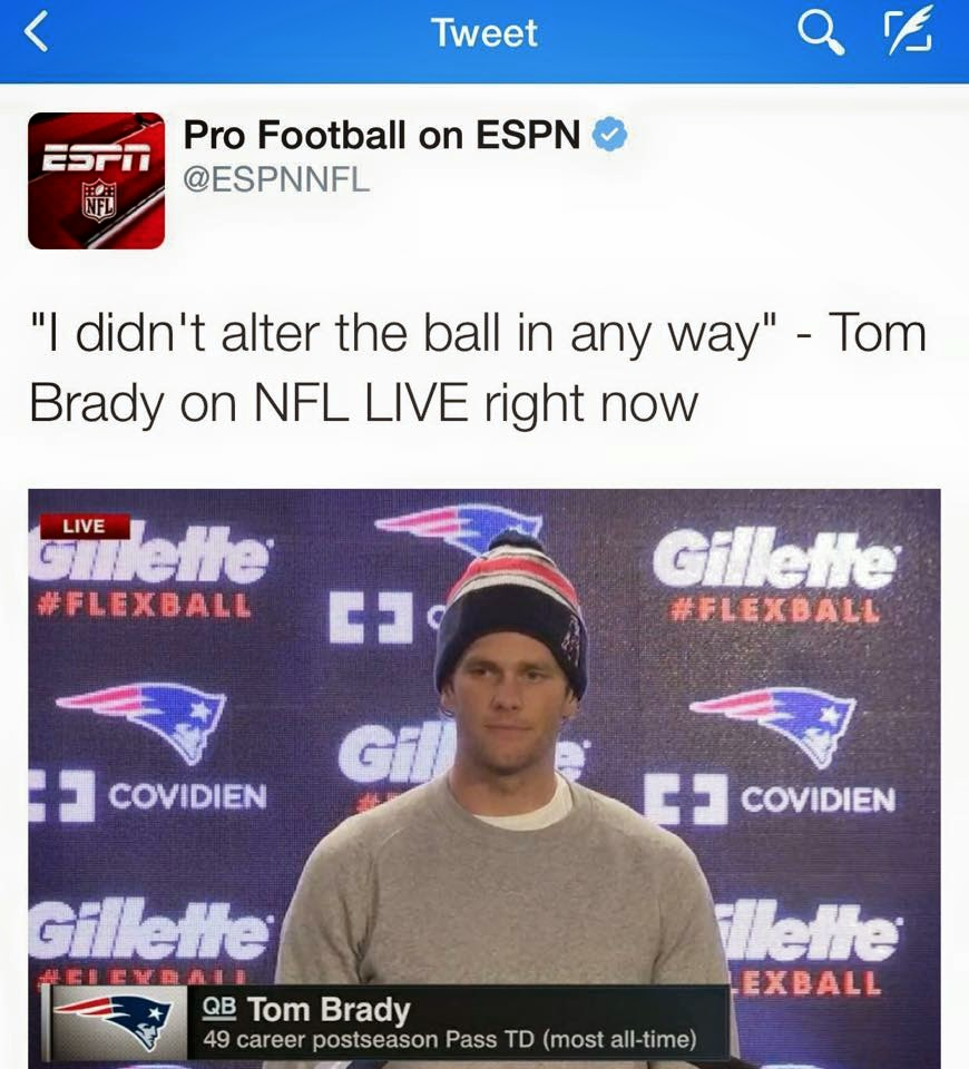 I didn't alter the ball in any way - Tom Brady on Nfl Live right now