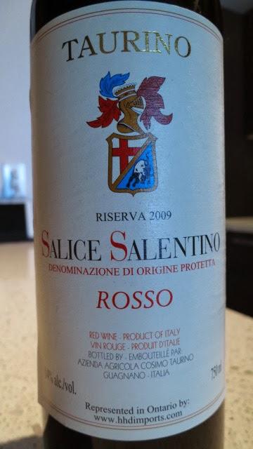 Wine Review of 2009 Taurino Riserva Salice Salentino Rosso from Puglia, Italy