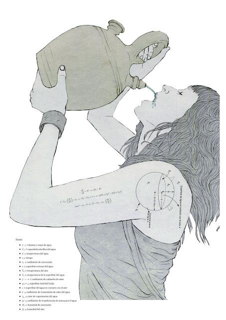 mujer, beber, botijo,termodinamica,