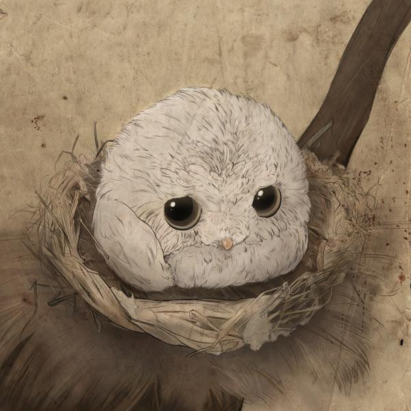 совенок в гнезде