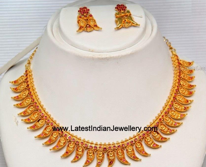 Gold Necklace with Lakshmi Motifs