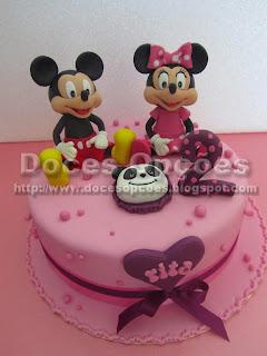 Bolo com o Mickey e a Minnie para o 2º aniversário da Rita