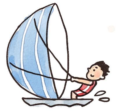 ヨットに乗っている人のイラスト