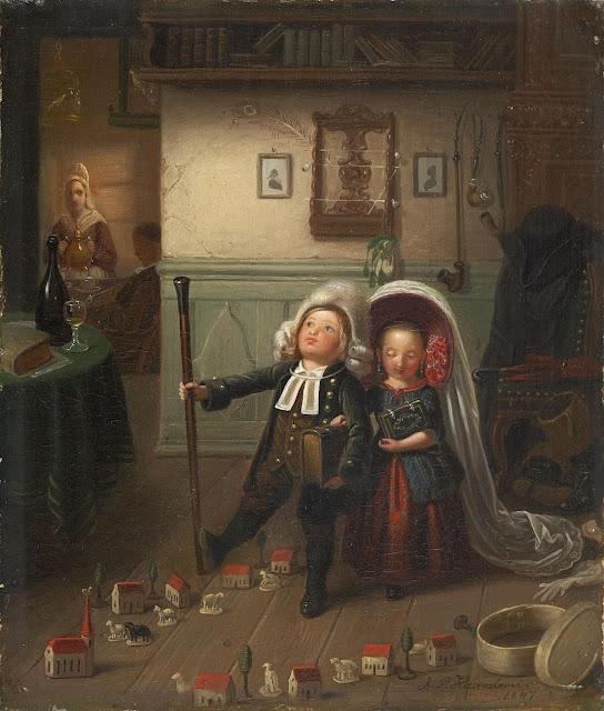 Hasenclever,german painter,genre scene