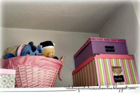 Cajas decoradas para dormitorio de niña