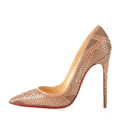 christian louboutin nude high heeled laser cut pumps