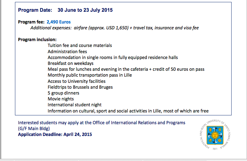 University of santo tomas 2015 summer program at the for Lille 2 webmail