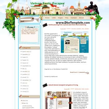 Vietnam Exotic Escapes blogger template from wordpress. blogger template for travel blog. free blogspot template