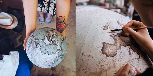 Os globos de Bellerby pintados à mão