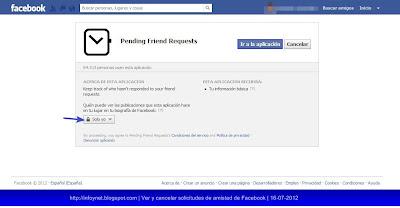 Aplicación Pending Friend Requests en Facebook