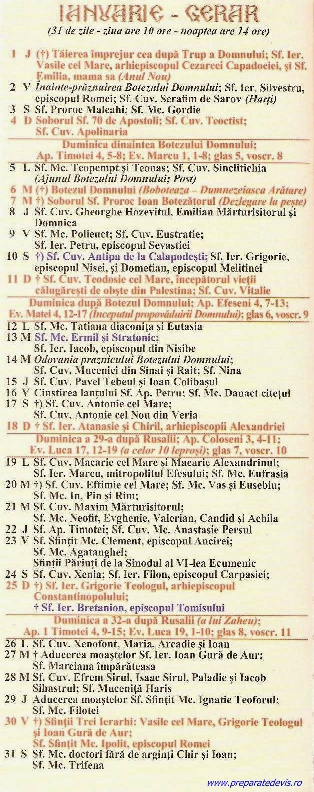 Calendar Ortodox Ianuarie 2016 | Calendar Template 2016