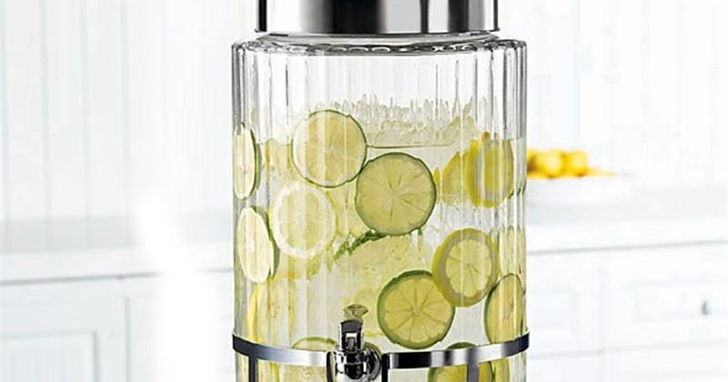 Round Ribbed Glass Beverage Dispenser On Metal Stand