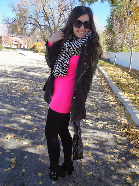 military jacket, deb shops, deb, infinity scarf, chevron print scarf, chevron infinity scarf, pink sweater, forever 21, sunglasses, ankle booties, ankle boots, booties, jacket, long jacket