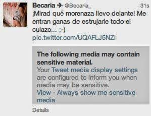 Tweets con material sensible