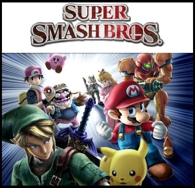 Super Smash Bros. logo and characters