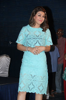 Hansika Motwani in Blue Short Dress at Romeo Juliet Press Meet