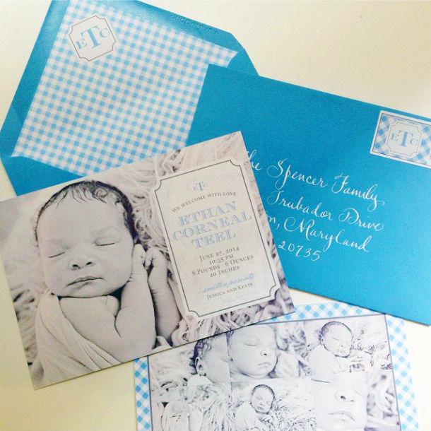 Custom Baby Boy Birth Announcement