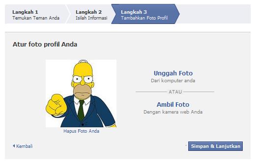 Masukkan foto profil anda ke facebook