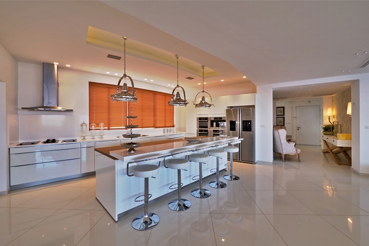 Kitchen in penthouse apartment in the desert