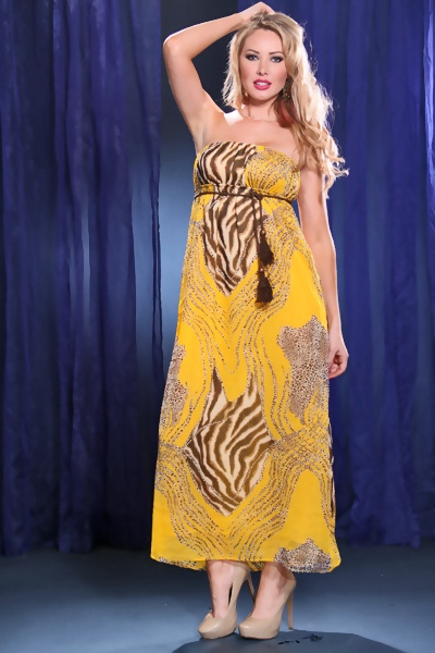 MUSTARD MULTI STRAPLESS CHIFFON ANIMAL PRINT ROPE TIE MAXI DRESS
