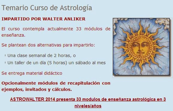 2015 ASTROLOGIA CALENDARIO DE CLASES Y TALLERES (PRESENCIAL MEXICO D.F.)