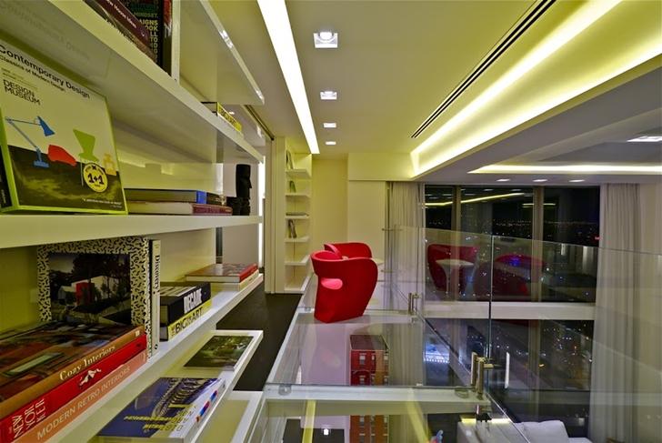 Book shelves and glass bridge
