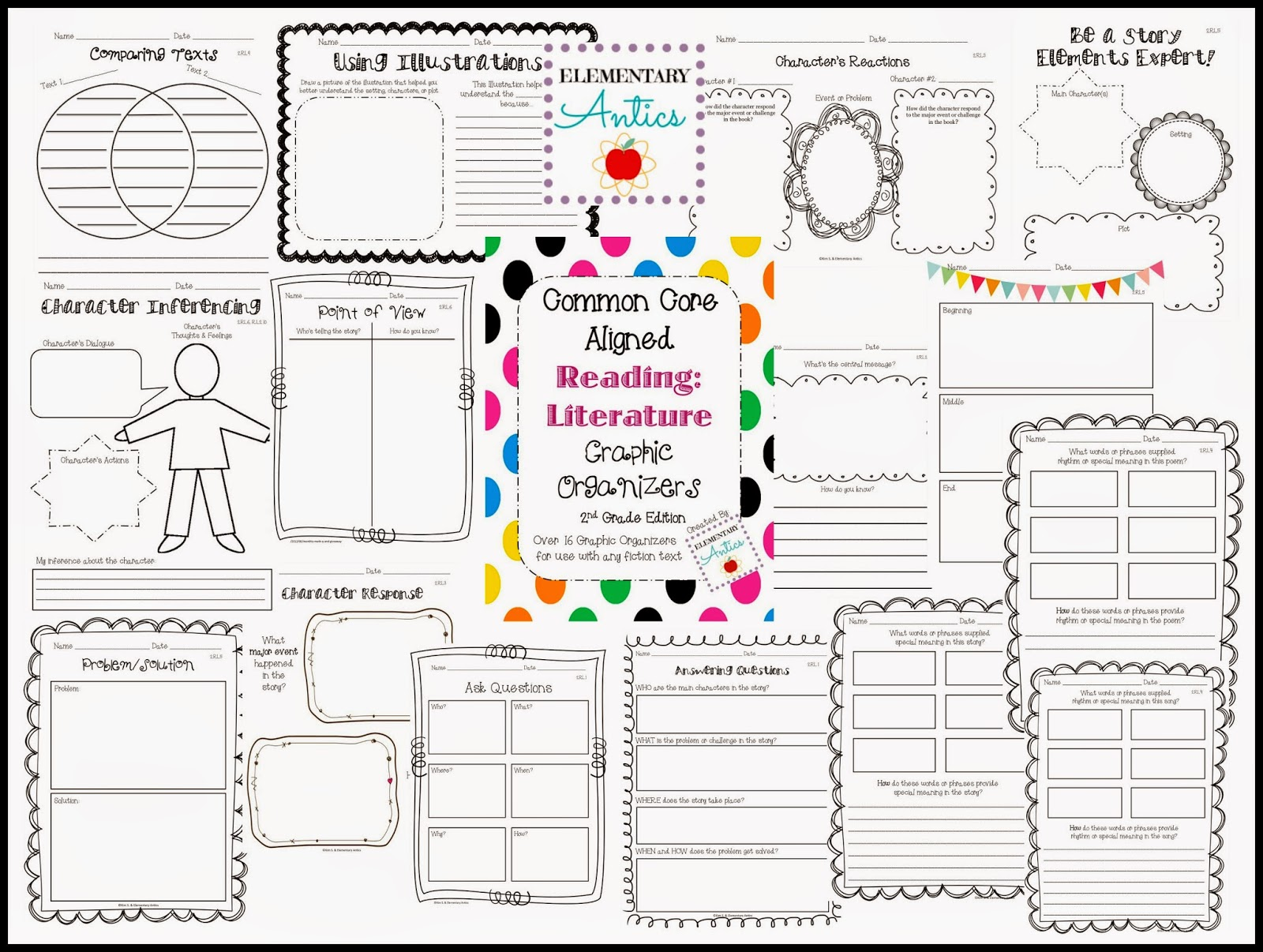 Reading Literature Graphic Organizers- all Common Core aligned