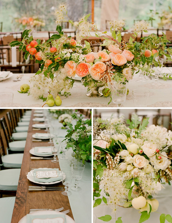 Table inspiration and centerpieces via Ariella Chezar