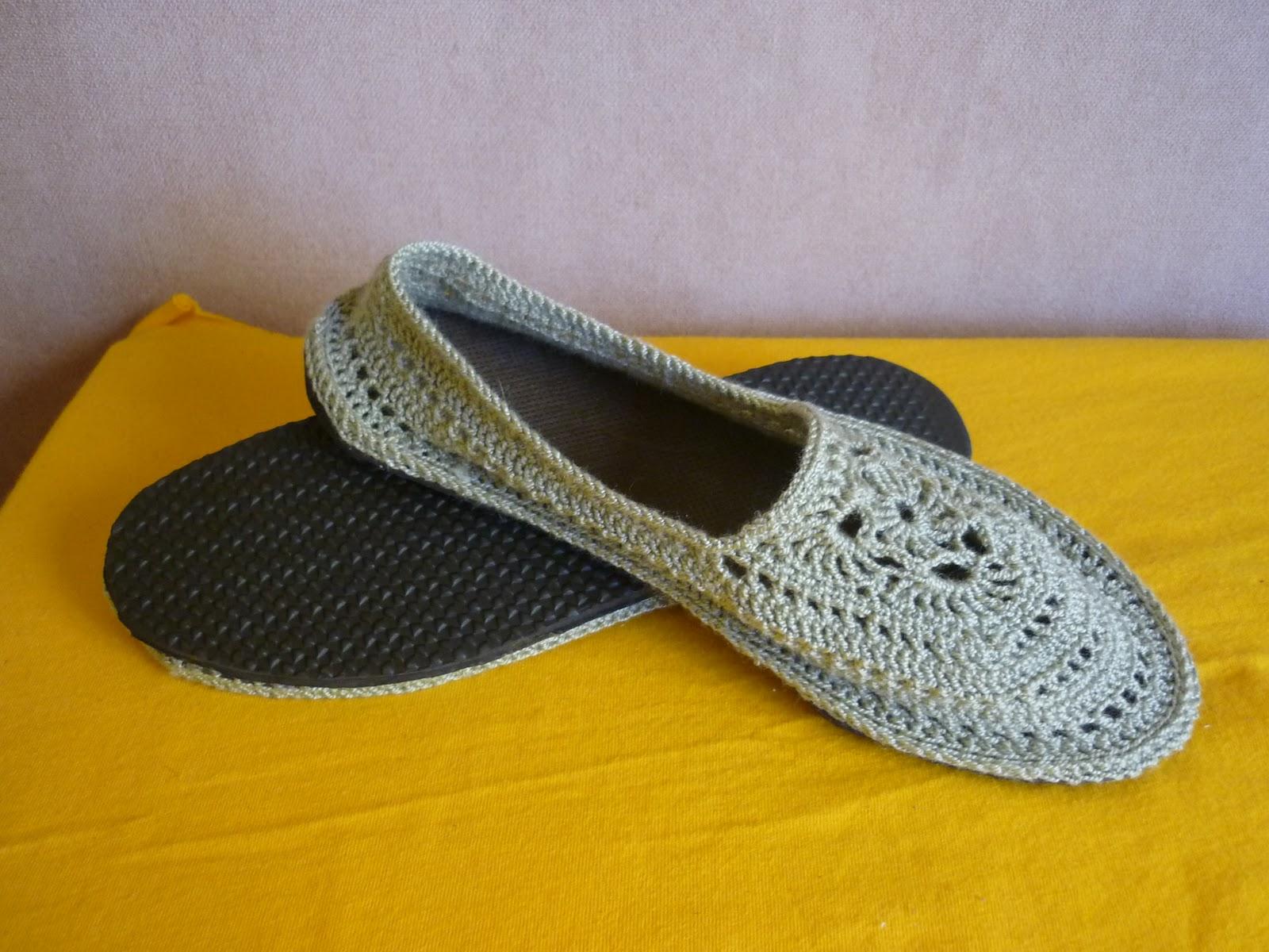 Alpargatas o Pantuflas con diseño (Crochet)