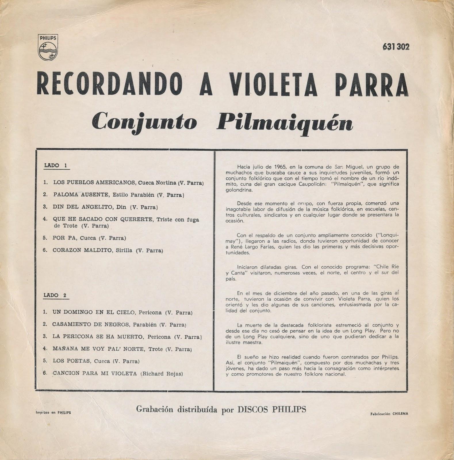 Conjunto Pilmaiquén - Recordando A Violeta Parra