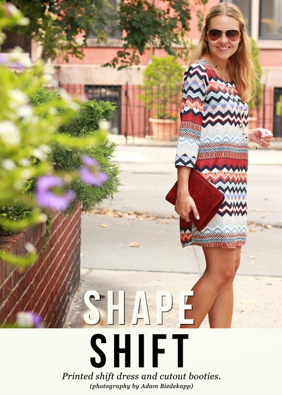 The Steele Maiden: Printed shift dress and cutout booties