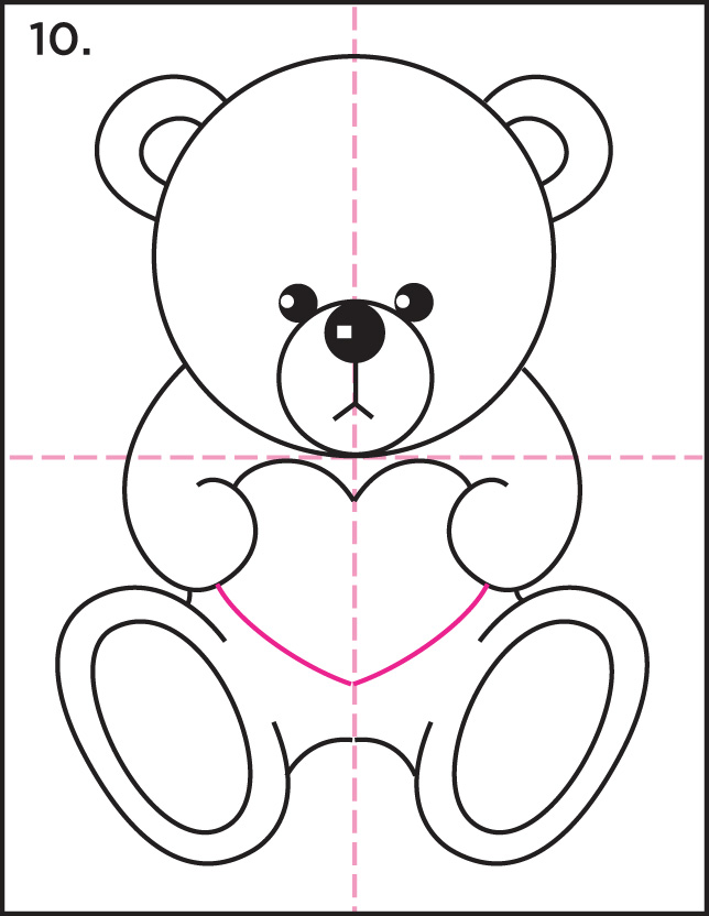 How To Draw Teddy Bear And Heart