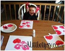 Toddlers love making easy handprint hearts