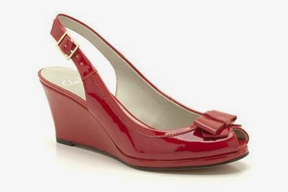Clarks Red Patent Wedge Sandals