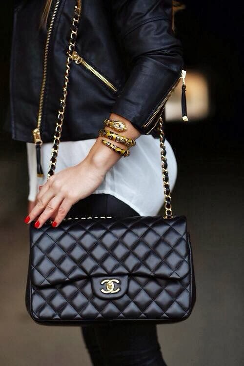 Chanel Chance Black Leather Bag with Gold Details and Gold Snake Bracelet