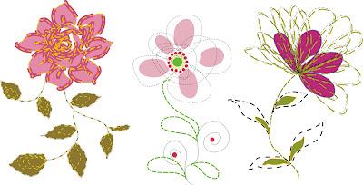 Contoh motif bunga abstrak untuk bordiran