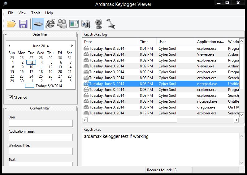 Ardamax Keylogger is a keystroke recorder that captures user's activity and