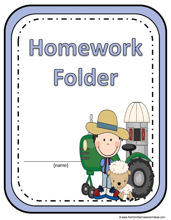 Homework Book Cover Template : Back to school farm animal themed daily work folder covers